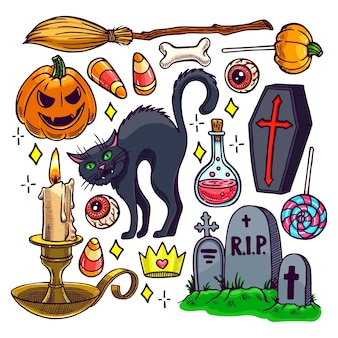 Set di diversi attributi di halloween. illustrazione disegnata a mano