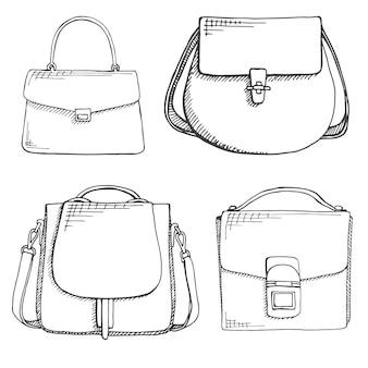 Set di diverse borse, uomini, donne e unisex.