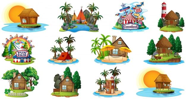Insieme dei bangalows differenti e tema e parco di divertimenti della spiaggia dell'isola su fondo bianco