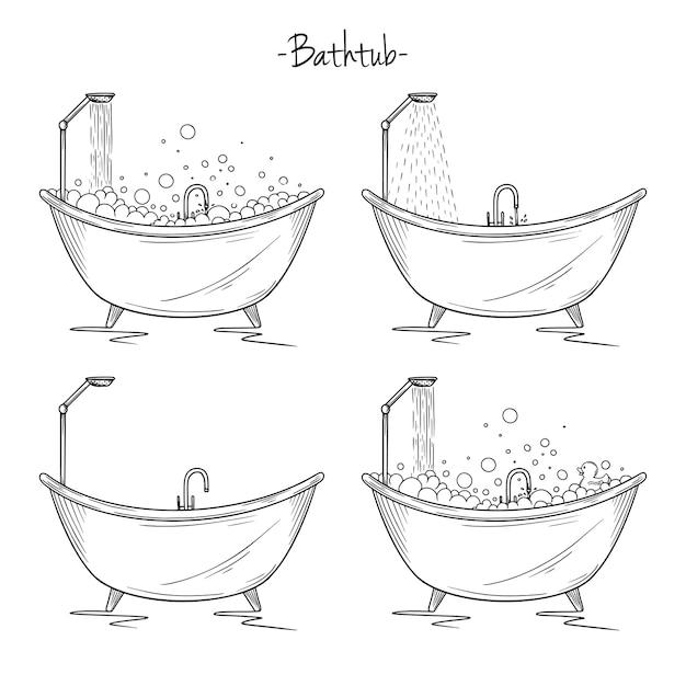 Set di diversi bagni con schiuma, doccia, anatra. illustrazione di stile di schizzo.