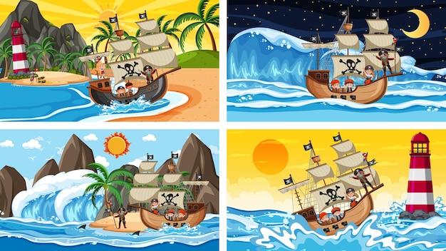 Set di diverse scene di spiaggia con nave pirata
