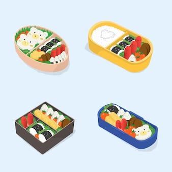 Set di diversi bento. collezione di scatole da pranzo giapponesi. cibo divertente del fumetto. illustrazione vettoriale colorato isometrica.