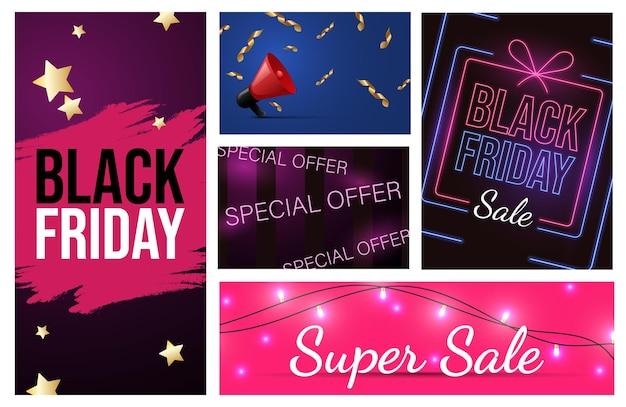 Set di diversi materiali pubblicitari del black friday progettano un'offerta speciale