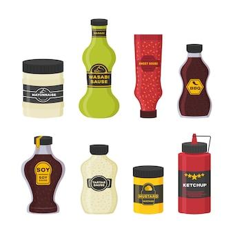 Set di diverse bottiglie con salse