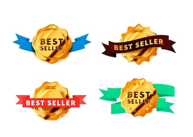 Set di diversi distintivi dorati luminosi con nastri, icone lucide best seller isolate su bianco