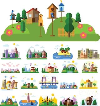 Insieme di diversi edifici e case in stile piatto