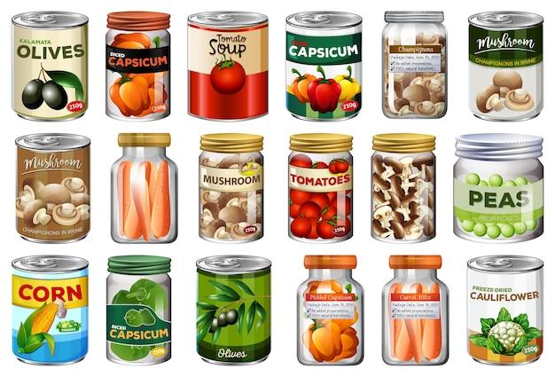 Set di diversi cibi in scatola e cibo in barattoli isolati