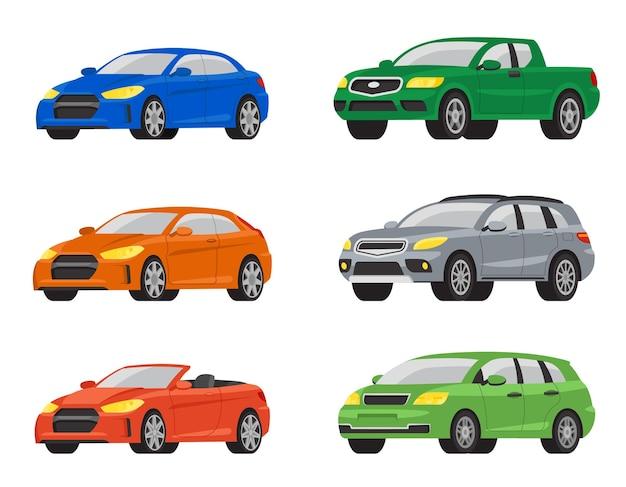 Set di auto diverse. variazioni automobilistiche in stile cartone animato.