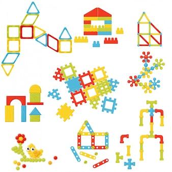 Insieme di costruttori di bambini diversi. giocattoli per lo sviluppo del bambino. elementi per poster pubblicitario della scuola materna Vettore Premium