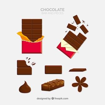Set di caramelle di cioccolato differenti