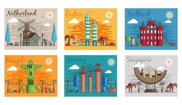 Insieme di diverse città per il modello di banner di punti di riferimento di destinazioni di viaggio del volantino
