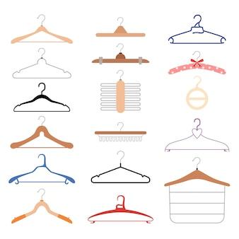 Set di diversi appendiabiti. supporti in legno e plastica per diversi tipi di vestiti. piatto . isolato su uno sfondo bianco.