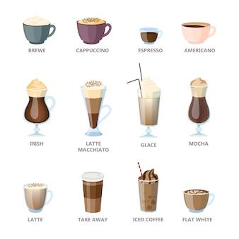 Set di diversi tipi di caffè. americano e cappuccino, espresso e moka. tazza calda di bevanda per colazione con latte. illustrazione in stile cartone animato