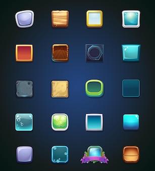 Set di pulsanti colorati diversi