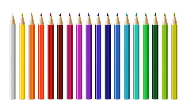 Set di matite colorate differenti isolate su priorità bassa bianca. illustrazione vettoriale.