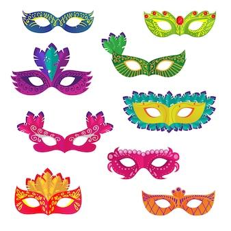 Set di diverse maschere ornamentali colorate di carnevale o vacanze