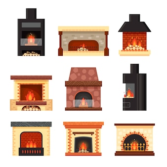 Impostare diversi caminetti domestici colorati con fuoco e legna da ardere isolato su sfondo bianco. progetti gli elementi per l'interno della stanza nello stile piano - illustrazione di riserva