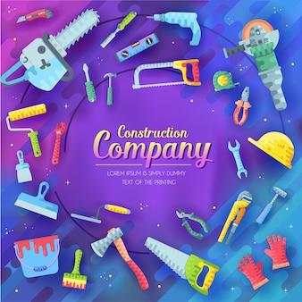 Insieme di elementi di società di costruzioni differenti su viola astratto. elementi delle icone degli strumenti di lavoro.