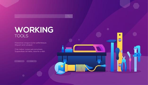 Insieme di diversi elementi di società di costruzioni. banner web degli strumenti di lavoro, intestazione dell'interfaccia utente, accesso al sito.