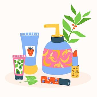 Set di diversi cosmetici, tubi, bottiglie, barattoli, burro per il corpo, rossetto, crema. collezione di prodotti per la cura della pelle colorati e prodotti di bellezza ecologici su bianco con foglie.