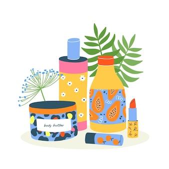 Set di diversi cosmetici, tubi, bottiglie, barattoli, burro per il corpo, lozioni, creme, rossetti. collezione di prodotti per la cura della pelle colorati e prodotti di bellezza ecologici su bianco con foglie.