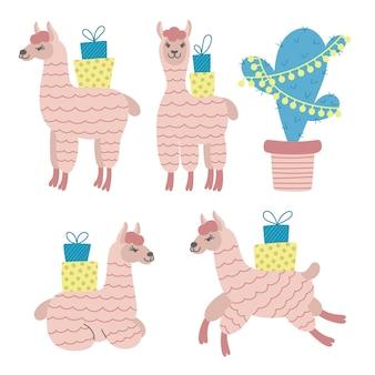Set di diversi simpatici alpaca con scatole regalo e cactus decorati. pacchetto di adesivi divertenti in alpaca.