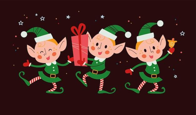 Set di diversi simpatici personaggi di elfi di babbo natale con scatola regalo, campanello, danza isolata. piatto del fumetto di vettore. per biglietti di natale, motivi, striscioni, adesivi.