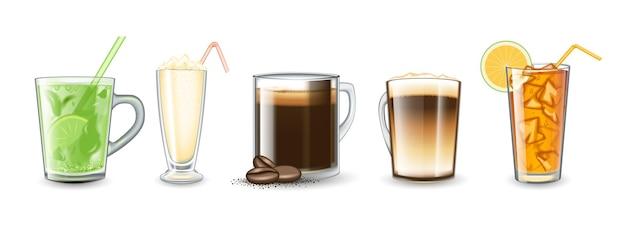 Set di bevande diverse