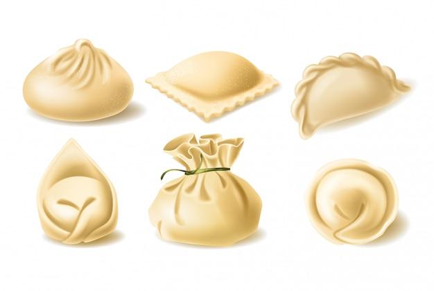 Set di diversi gnocchi, pelmeni, wonton, tortellini, khinkali, manti, ravioli