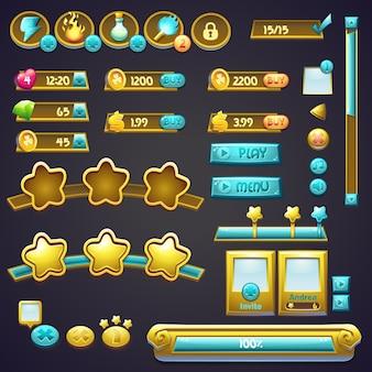 Set di diversi elementi in stile cartone animato, barre di avanzamento, pulsanti booster e altri elementi