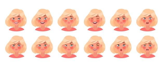 Insieme di diverse emozioni di un personaggio femminile. bella ragazza emoji con una varietà di espressioni facciali. in stile cartone animato