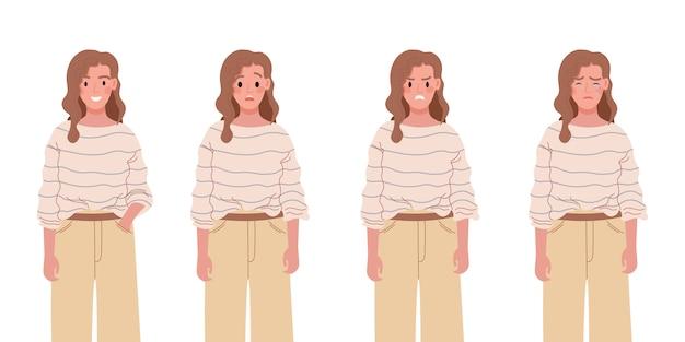 Set di carattere femminile di emozioni diverse. ragazza giovane con varie espressioni facciali