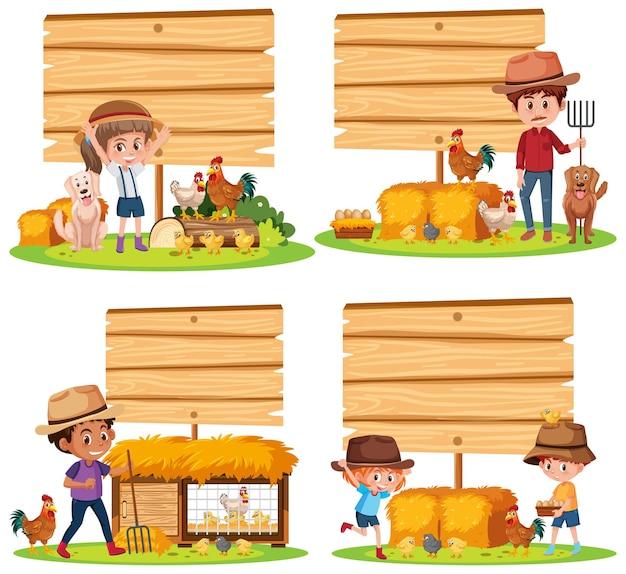 Set di diversi banner vuoti con contadino e animali