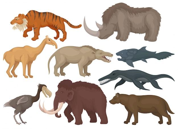 Insieme di diversi animali preistorici estinti. pesci, uccelli e mammiferi selvatici. tema della fauna selvatica