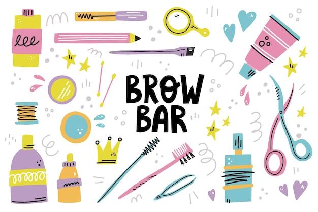 Set di diversi strumenti per sopracciglia. pinzette, tintura, pennello, gel e bottiglie disegnate a mano illustrazione. scritta sulla barra delle sopracciglia. collezione per il design di studio sopracciglia.