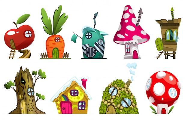 Insieme di diverse case da favola. case di fantasia. illustrazione del villaggio abitativo. imposti per il teatro delle fiabe dei bambini isolato su priorità bassa bianca