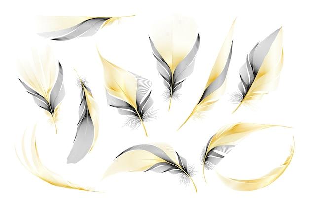 Set di diverse piume roteate lanuginose che cadono su uno sfondo bianco