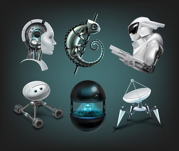 Set di diversi robot assistenti immaginari