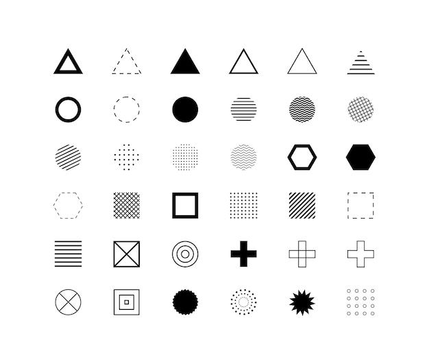 Set di diverse forme geometriche design simboli ed elementi