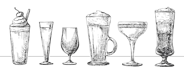 Set di bicchieri diversi, cocktail diversi. illustrazione di uno stile di schizzo.