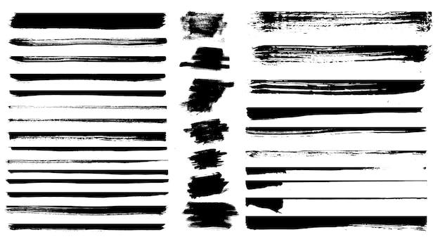 Set di diverse pennellate di grunge. illustrazione vettoriale. set di divisori grunge.