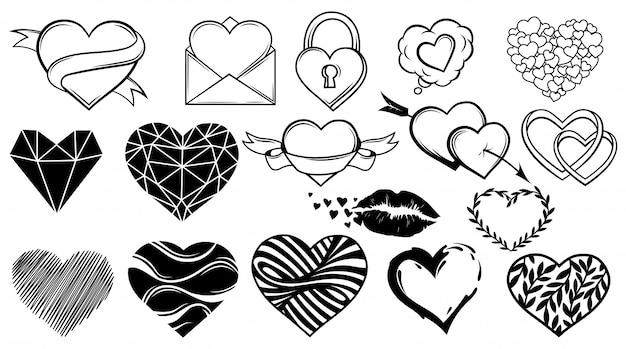 Set di cuori diversi. collezione di elementi di design per san valentino. simbolo dell'amore.