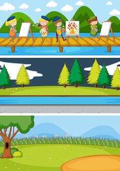 Set di diverse scene dell'orizzonte con il personaggio dei cartoni animati di doodle kids