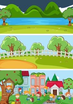 Set di diverse scene orizzontali sfondo con doodle kids personaggio dei cartoni animati