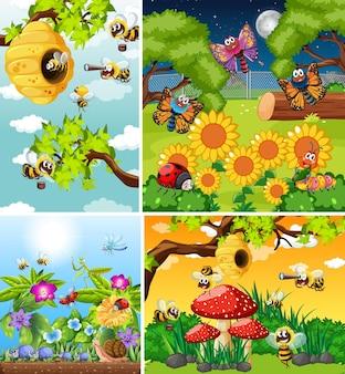 Insieme di diversi insetti che vivono in giardino