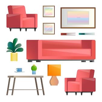 Insieme di diversi elementi interni. soggiorno. illustrazione in stile.