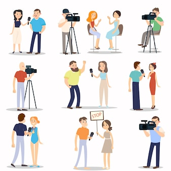 Set di diverse interviste situazioni moderne, vita quotidiana della città