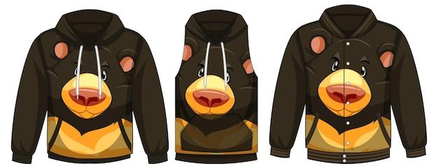 Set di giacche diverse con modello di orso nero