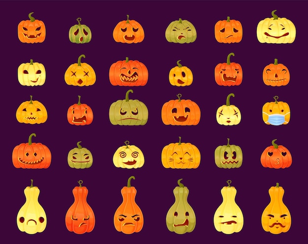 Set di diverse espressioni di volti di jackolantern intaglio di zucca di halloween