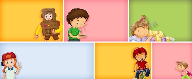 Set di diversi personaggi per bambini su uno sfondo di colore diverso Vettore Premium